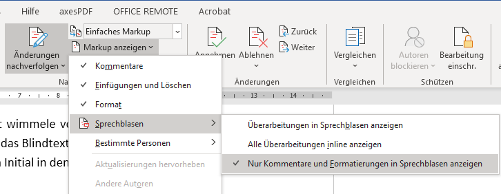 Änderungen nachverfolgen in Word: Nur Kommentare und Formatierungen in Sprechblasen anzeigen