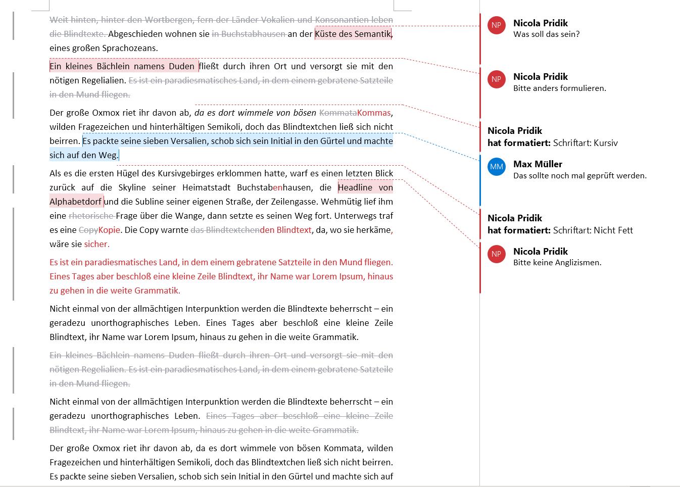 Änderungen nachverfolgen in Word: Gelöschten Text inline und hellgrau anzeigen lassen