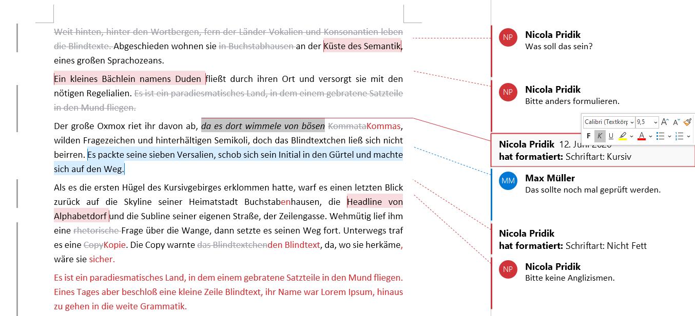 Beispiel Formatänderung im Text markieren bei Klick in Sprechblase