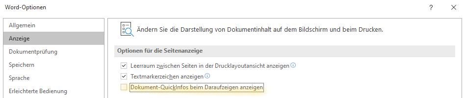 Dokument-QuickInfos beim Draufzeigen nicht anzeigen