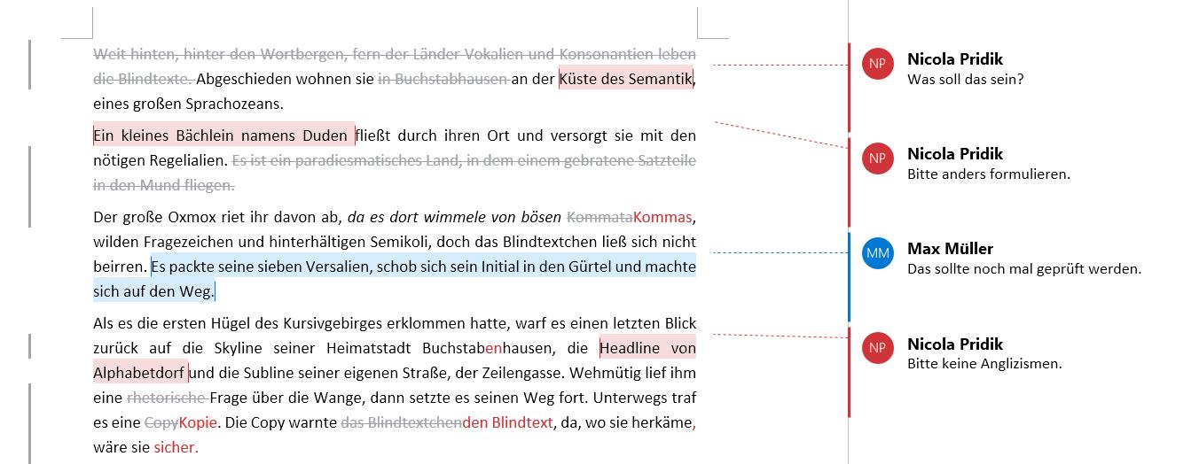 Beispiel Text mit Kommentaren, bei denen die Linien zu den Textstellen nur angedeutet sind