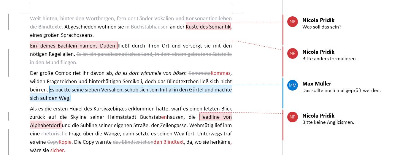 Beispiel Text mit Kommentaren, die über Linien mit Textstellen verbunden sind