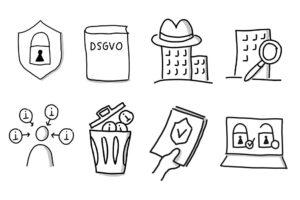 Handgezeichnete Bildvokabeln zum Datenschutzrecht