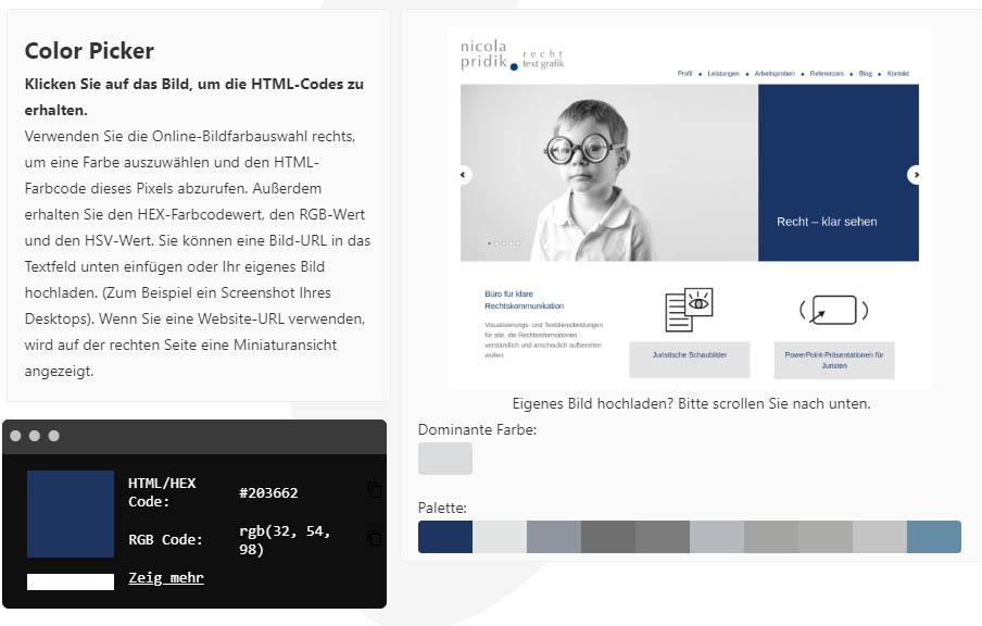 Aus der Website www.npridik.de ausgelesene Farben auf Imagecolorpicker