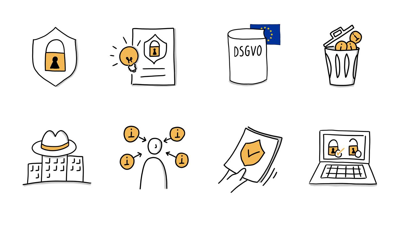 8 handgezeichnete Icons zum Datenschutzrecht