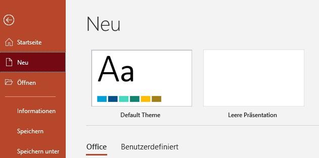 """Standarddesign (Default Theme) auf der Seite """"Neu"""""""