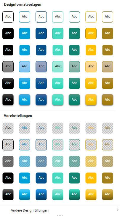 Designformatvorlagen für Formen auf der Grundlage meiner Beispiel-Farbpalette