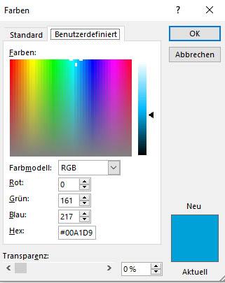 Dialog zur Eingabe von Farbwerten in PowerPoint