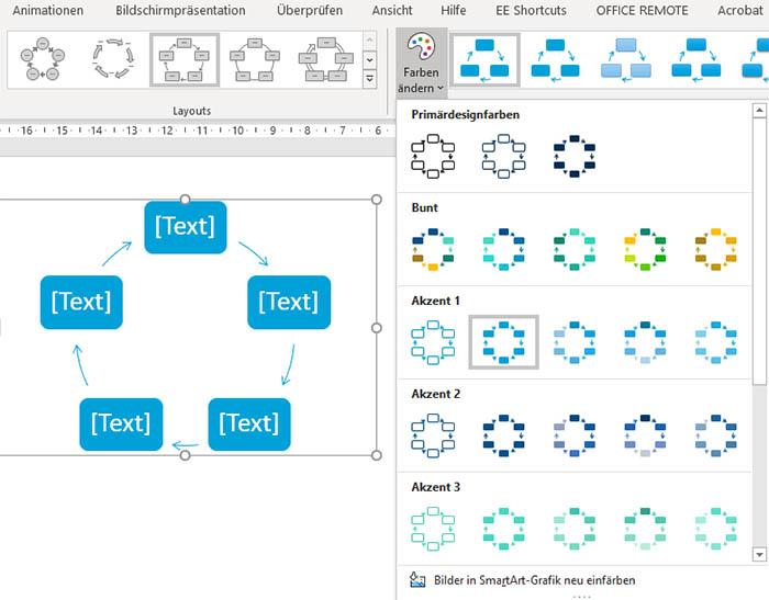 SmartArt Zyklus in der durch Akzentfarbe 1 vorgegebenen Standardfarbe
