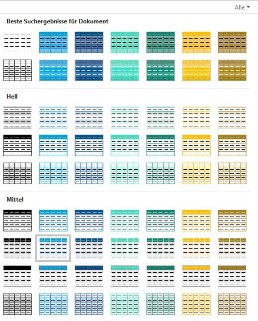 Formatvorlagen für Tabellen auf der Grundlage meiner Farbpalette