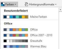Benutzerdefinierte Palette mit Designfarben in der Liste der aller angebotenen Farbpaletten