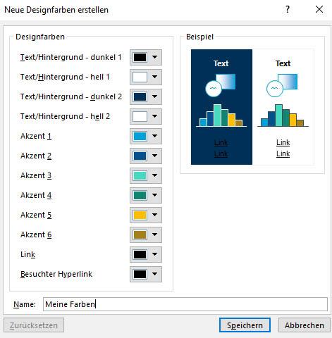 Dialogfeld Neue Designfarben erstellen in PowerPoint