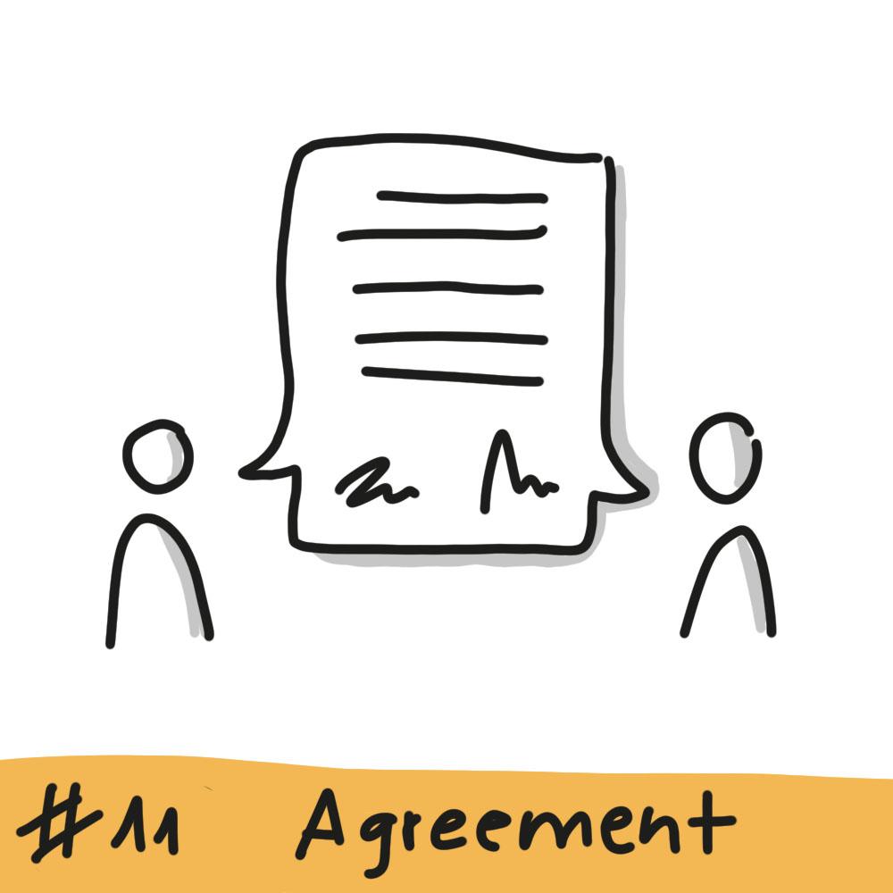 Zwei Personen ist eine gemeinsame Sprechblase mit Text und zwei Unterschriften zugeordnet
