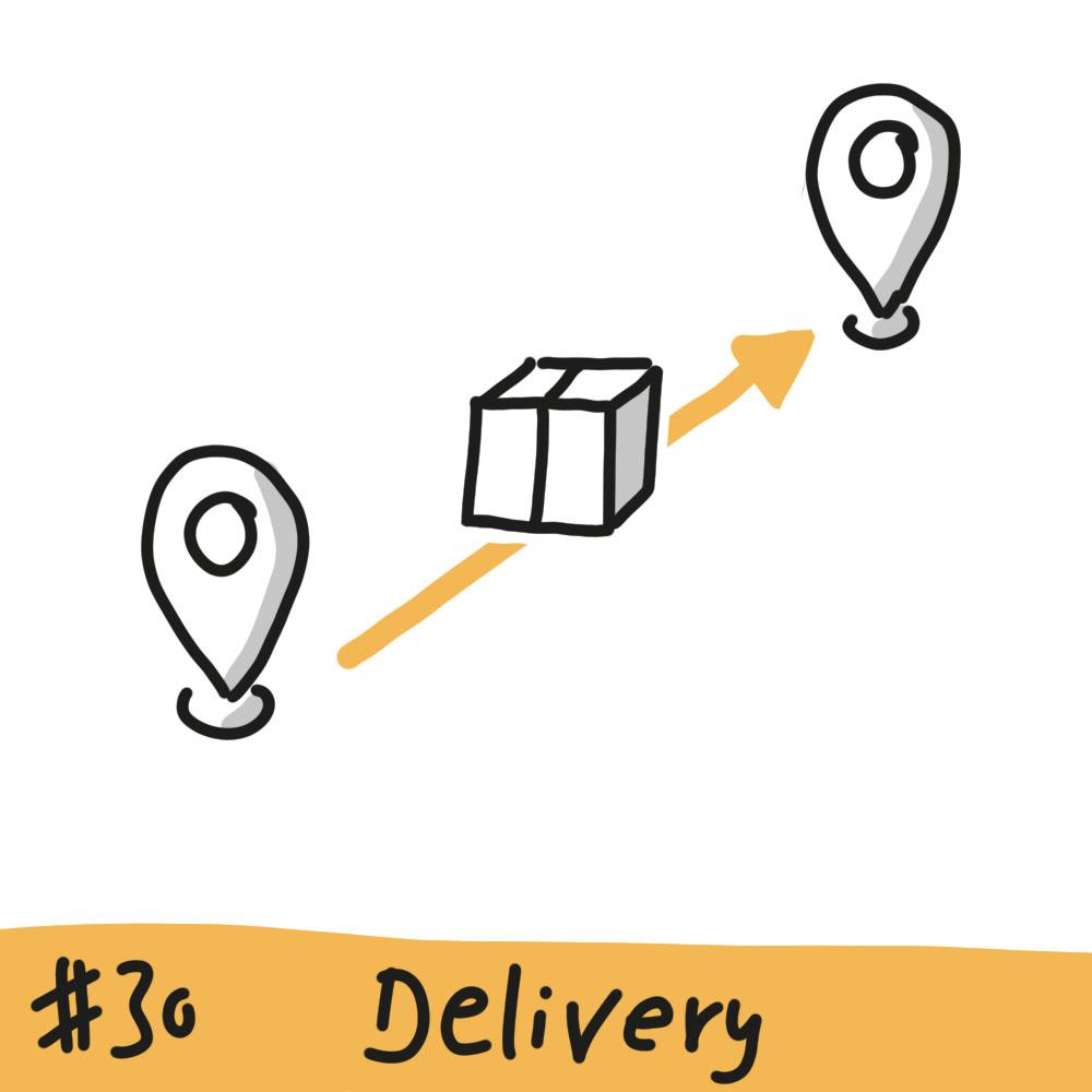 Zwei Ortsmarkierungen sind durch einen farbigen Pfeil verbunden, auf dem ein Paket liegt