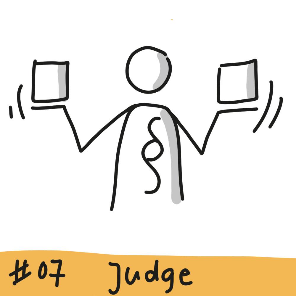 Person mit einem Paragrafen auf dem Körper hält zwei Quadrate auf ihren Händen und wägt diese gegeneinander ab