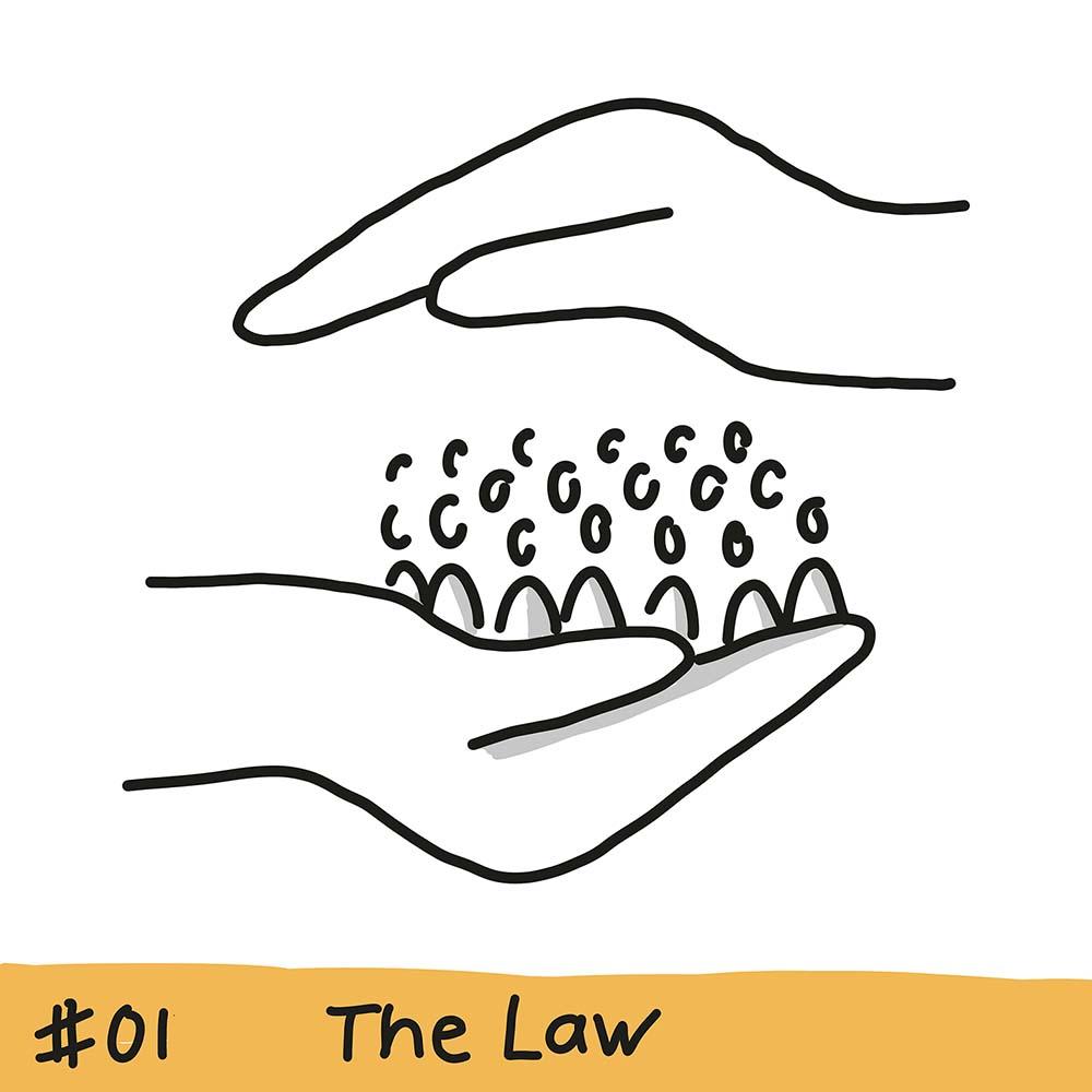 eine Hand hält eine Menschenmenge, eine andere Hand schützt die Menschenmenge von oben