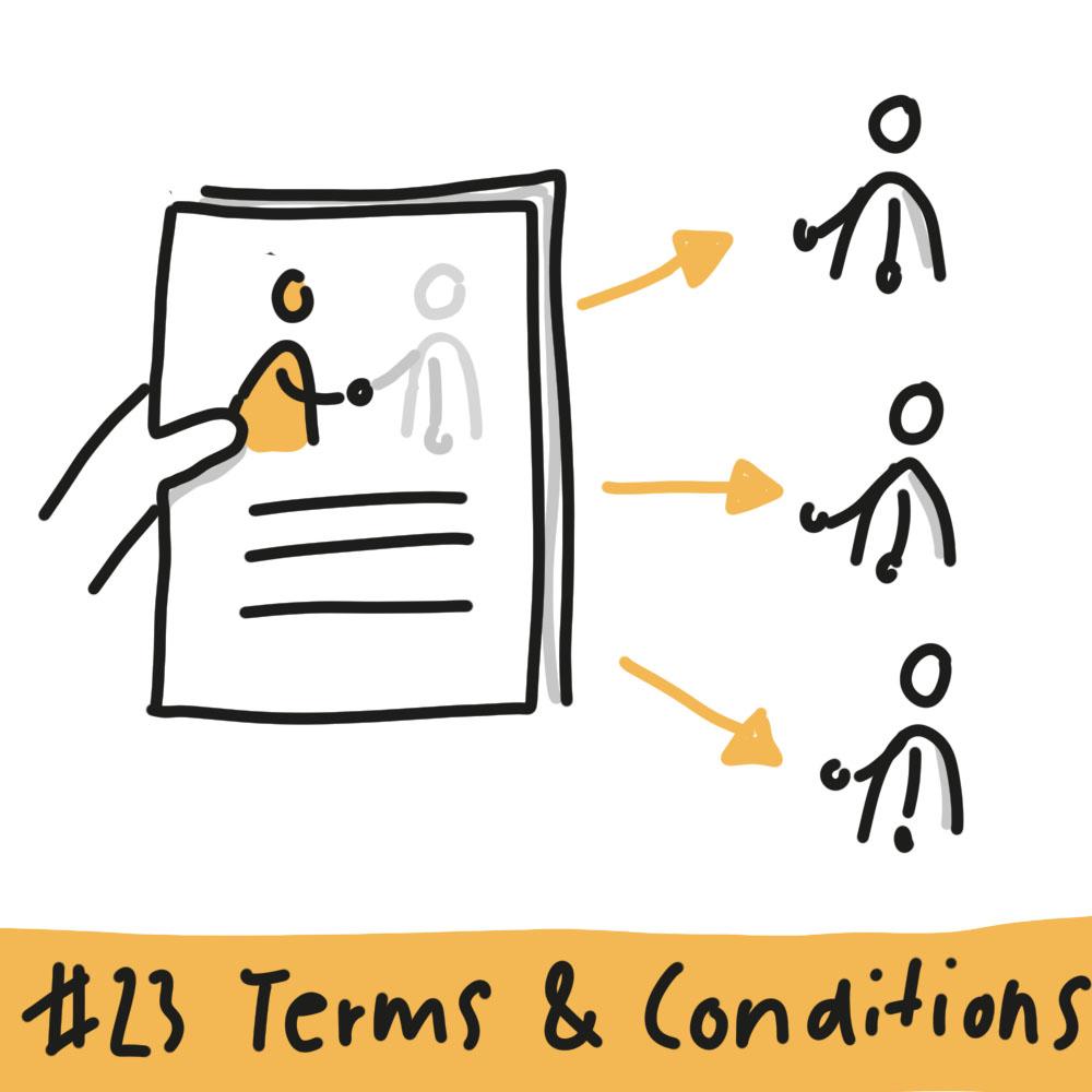 Eine Hand reicht ein Dokument nach rechts, auf dem sich zwei Personen die Hände schütteln, wobei die rechte Person ausgegraut ist. Rechts neben dem Dokument zeigen farbige Pfeile auf drei unterschiedliche Personen, die jeweils die rechte Hand ausstrecken, so wie die ausgegraute Person auf dem Dokument