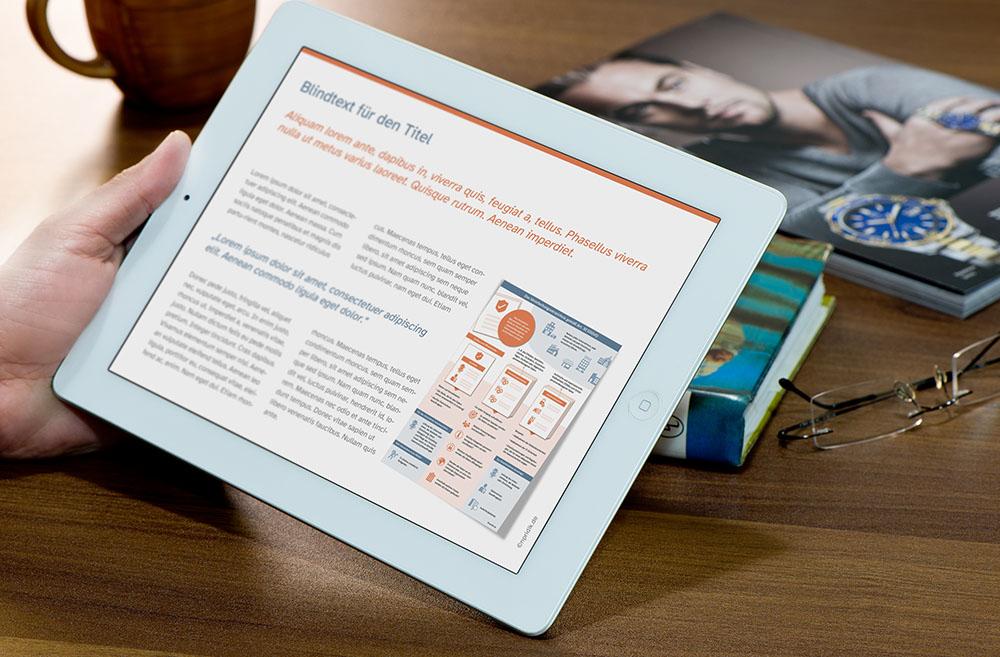 Eine Person liest in einem Café auf dem Tablet ein visuelles Dokument