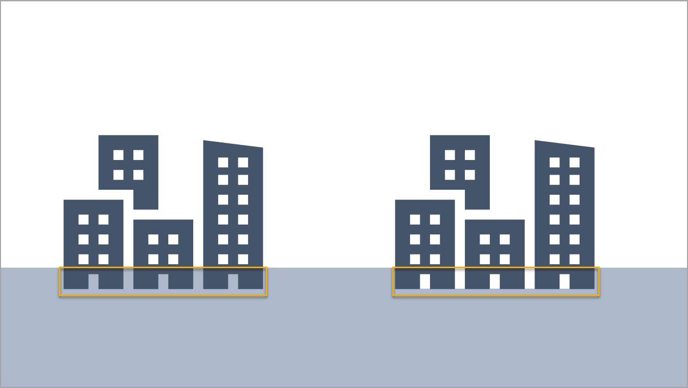 Hochhaus ohne und mit hinterlegter weißer Fläche