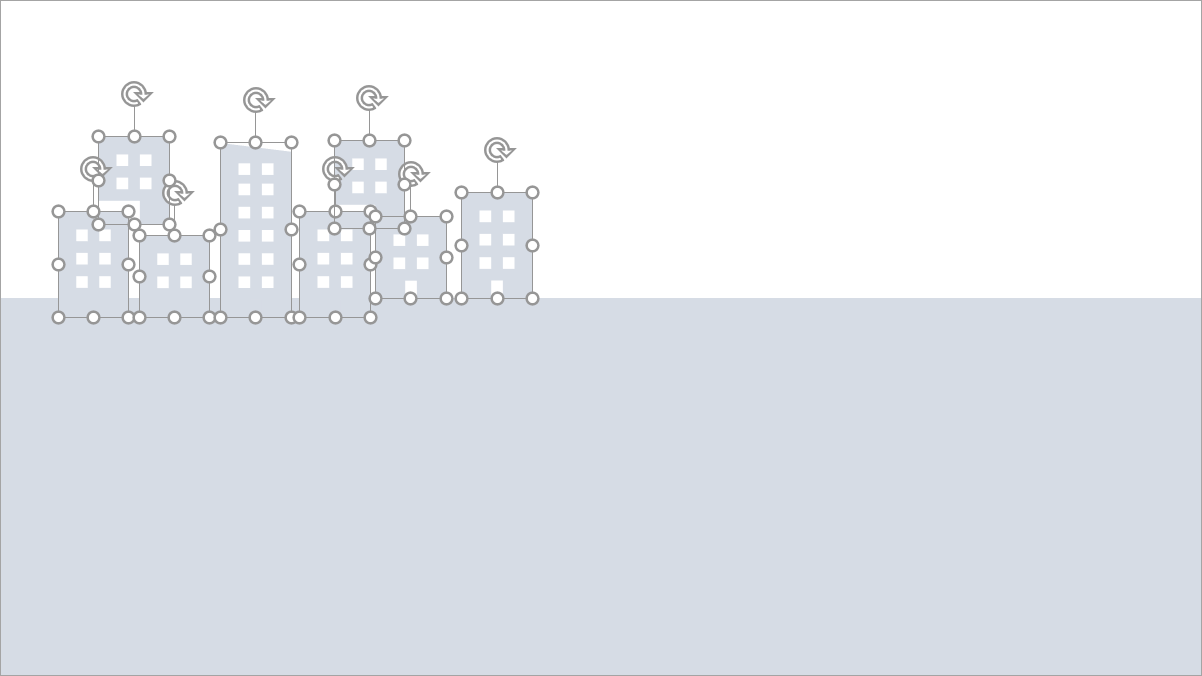 Skyline mit den Bestandteilen des Hochhaus-Icons erstellen