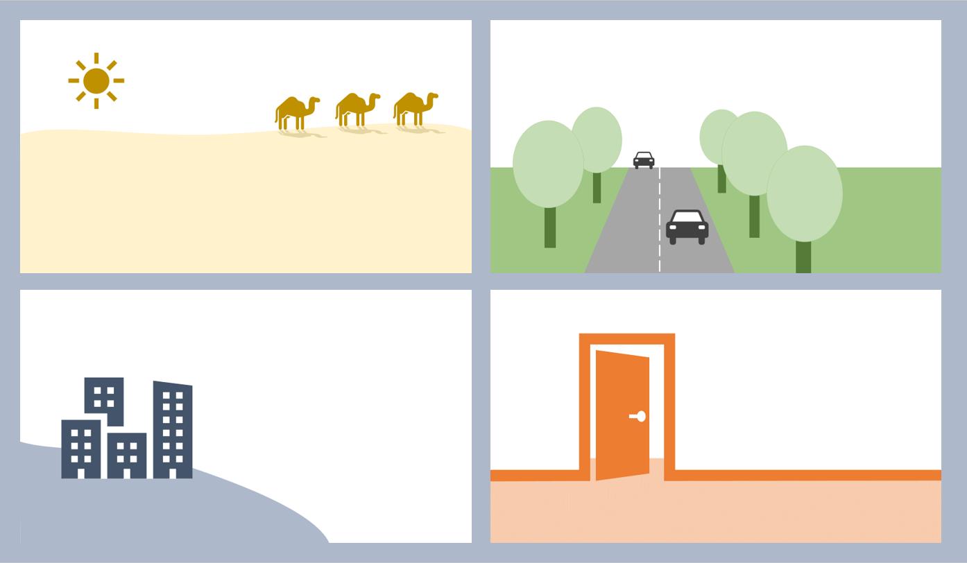 vier einfache Folienbilder: Kamele in der Wüste, Straße mit Auto und Bäumen, Gebäude auf einem Hügel und geöffnete Tür