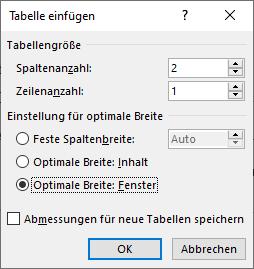 Word: Dialogfeld Tabelle einfügen
