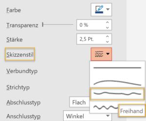Screenshot der Kontureinstellungen in PowerPoint mit Skizzenstil