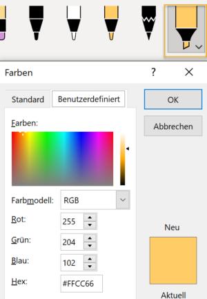 Screenshot des Menüs für die benutzerdefinierten Farben beim Textmarker in PowerPoint
