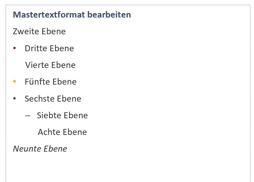 Beispiel für definierte Absatzformatvorlagen im Notizenmaster in PowerPoint