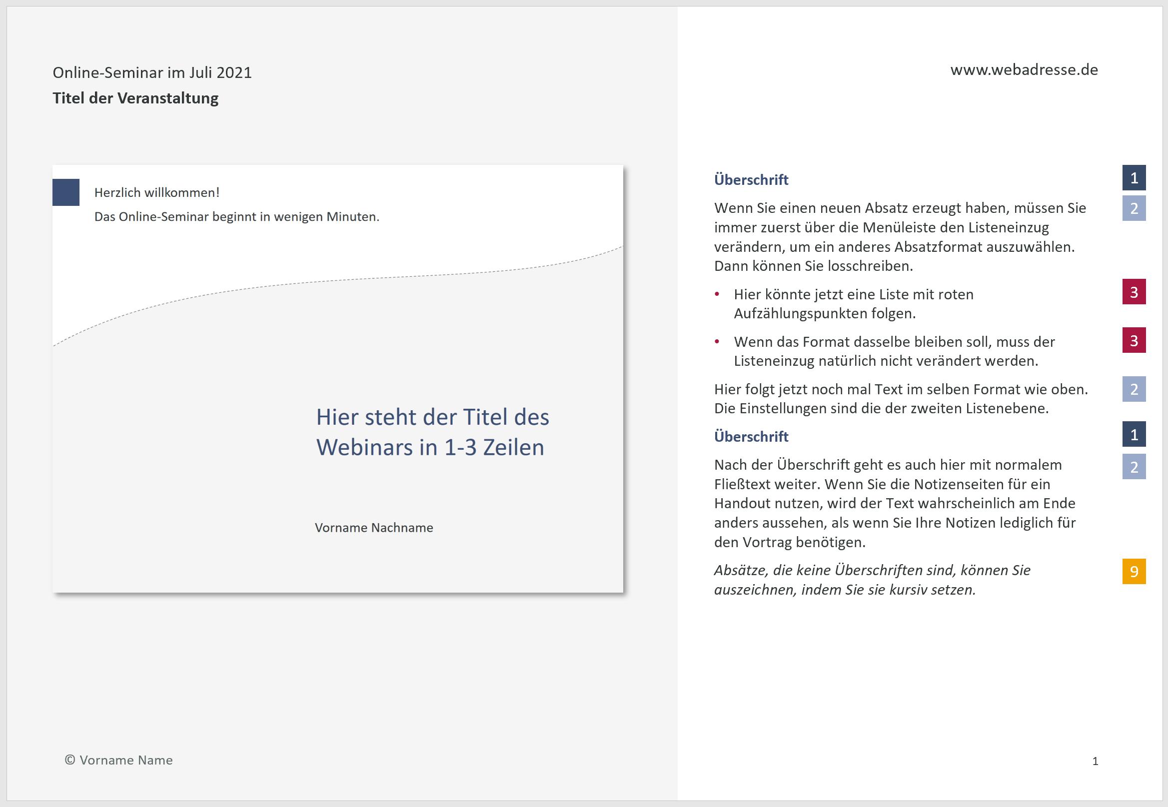 Beispiel einer gestalteten Notizenseite in PowerPoint mit verschiedenen Absatzformaten im Textplatzhalter, die mittels farbiger Quadrate den Listenebenen im Notizenmaster zugeordnet sind