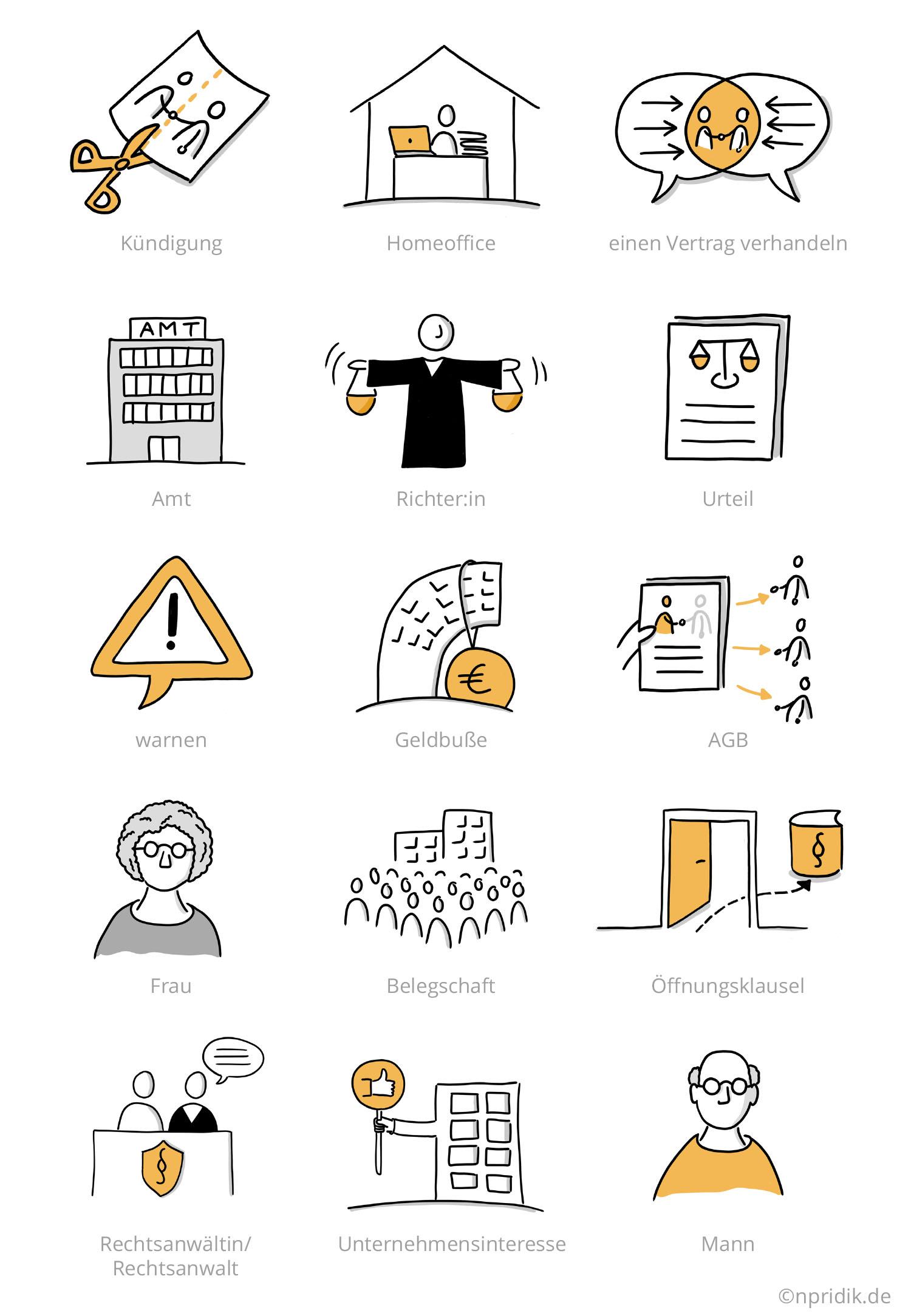 15 visualisierte Begriffe vom Buch, übers Amt und Homeoffice bis zur Geldbuße und Öffnungsklausel