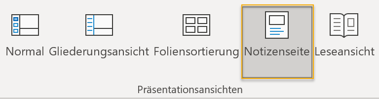 Screenshot: Präsentationsansichten auf der Registerkarte Ansicht in PowerPoint