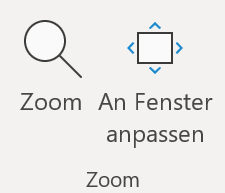 Screenshot: Gruppe Zoom auf der Registerkarte Ansicht in PowerPoint