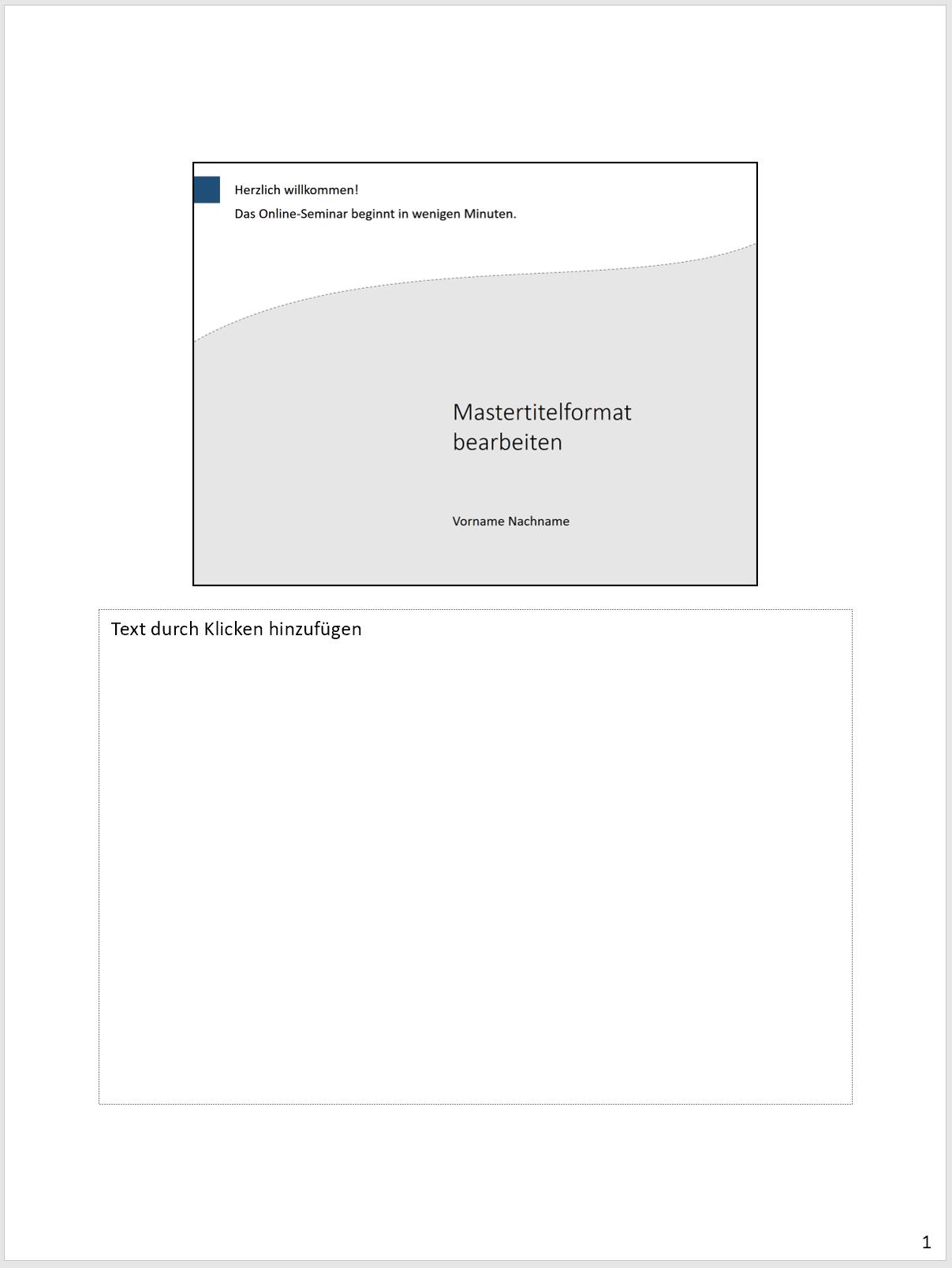 Standardansicht der Notizenseiten in PowerPoint anhand eines Beispiels