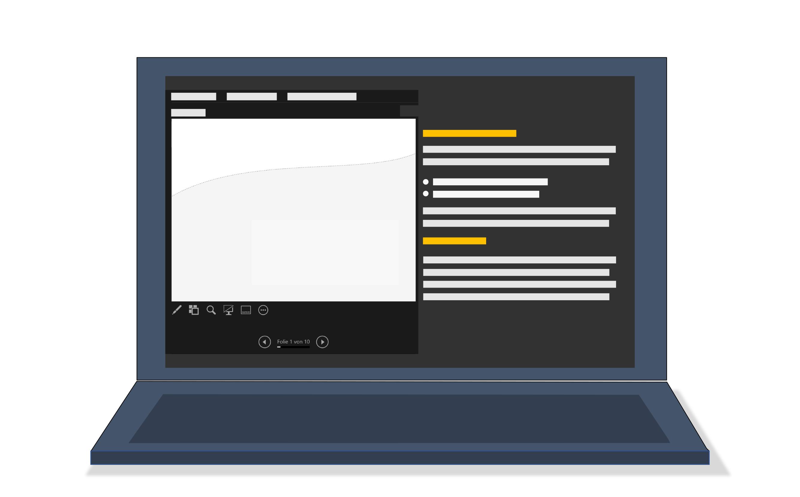 Aufgeklapptes Notebook mit stilisierter Referentenansicht auf dem Bildschirm