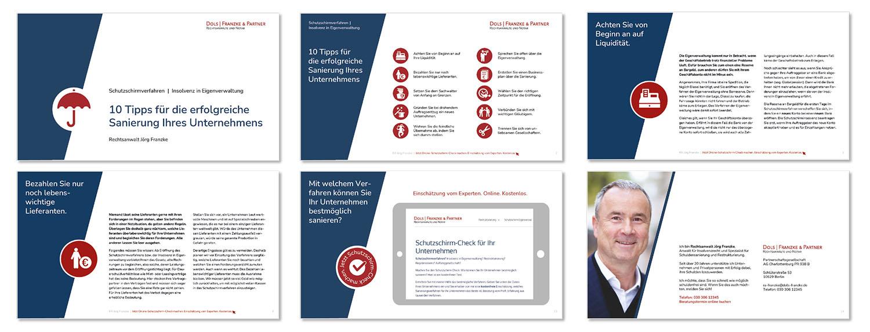 Sechs Seiten aus einer digitalen Informationsbroschüre mit zehn Tipps zur erfolgreichen Unternehmenssanierung