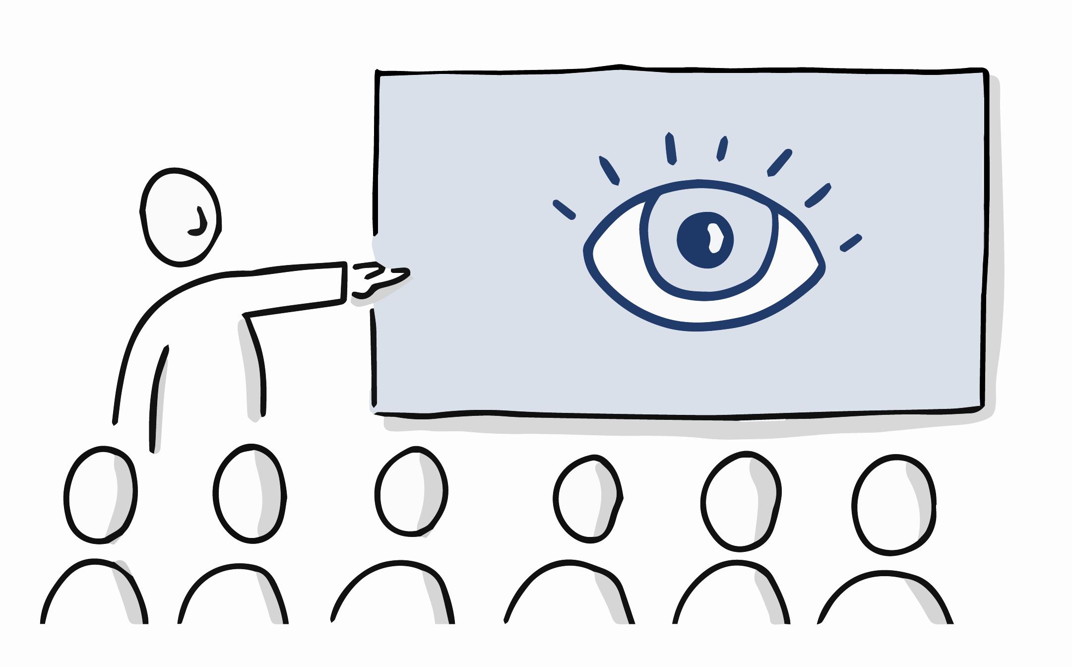 handgezeichnete Vortragssituation, bei die vortragende Person auf eine Leinwand mit einem großen Auge zeigt