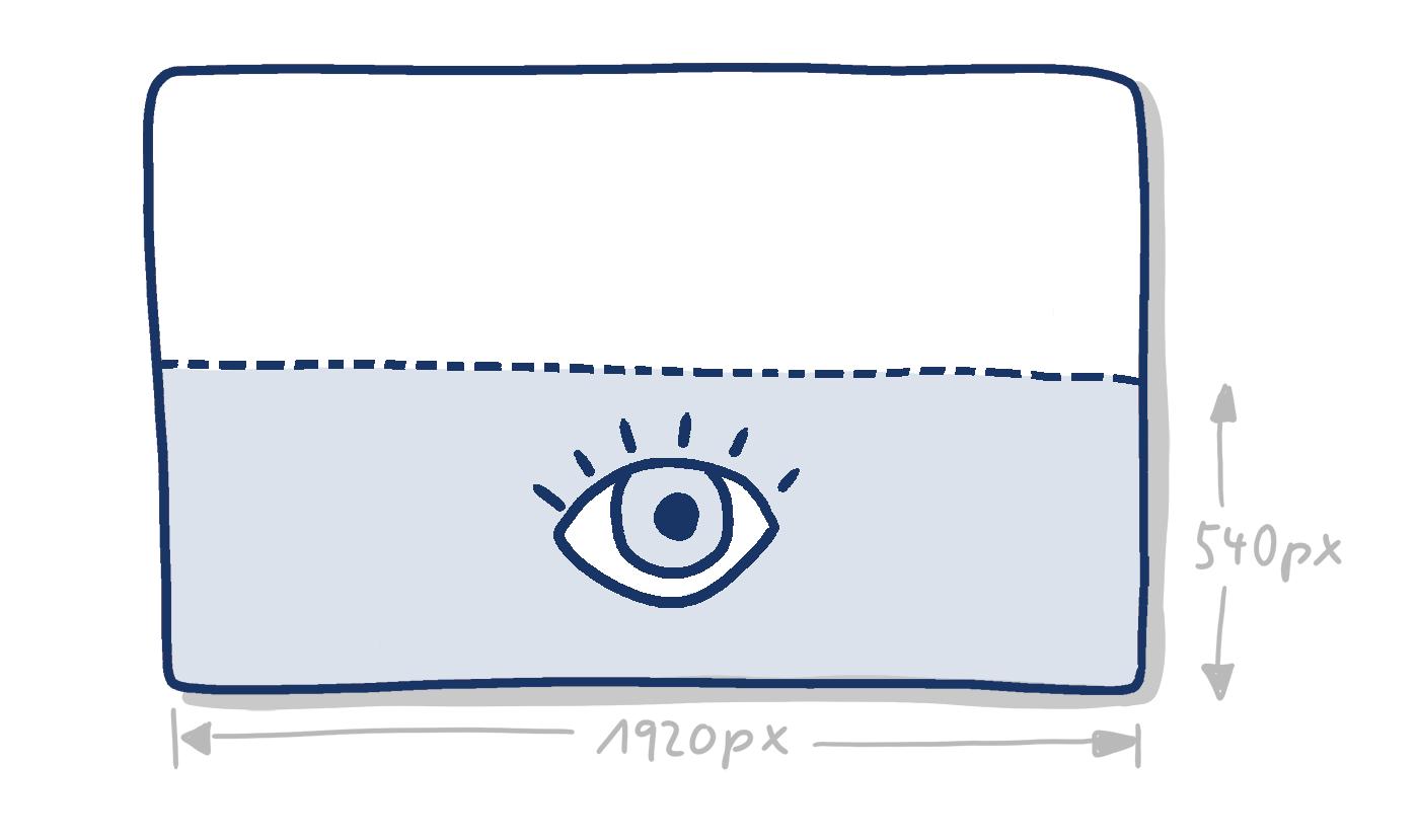 Handgezeichnetes Rechteck mit markierter unterer Hälfte und Angabe der Pixelmaße