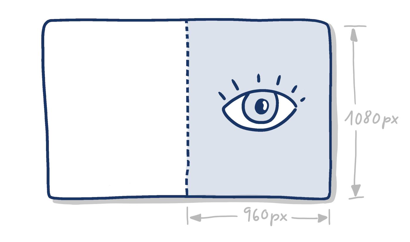 Handgezeichnetes Rechteck mit markierter rechter Hälfte und Angabe der Pixelmaße