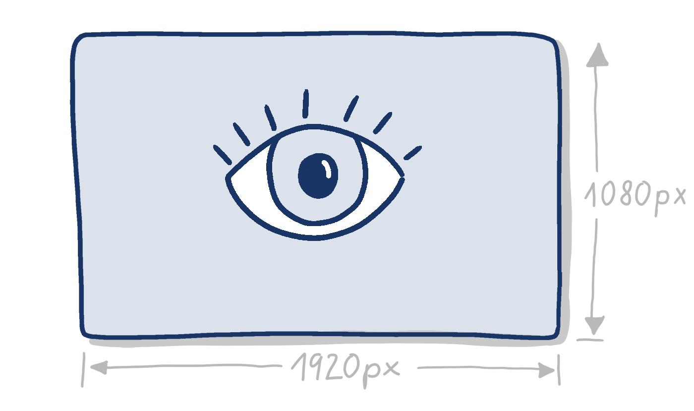 Handgezeichnete Rechteck mit Auge mit Angaben zur Breite und Höhe