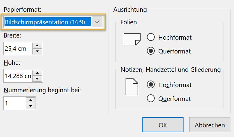 Screenshot PowerPoint Dialog zur Foliengröße mit ausgewähltem Papierformat Bildschirmpräsentation (16:9)