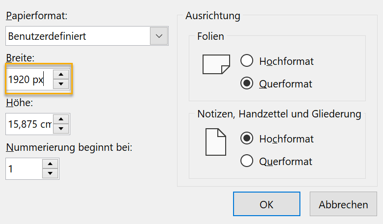 Screenshot PowerPoint Dialog zur Foliengröße mit Pixeleingabe bei Breite