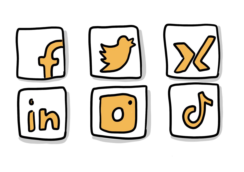 Icons sozialer Netzwerke