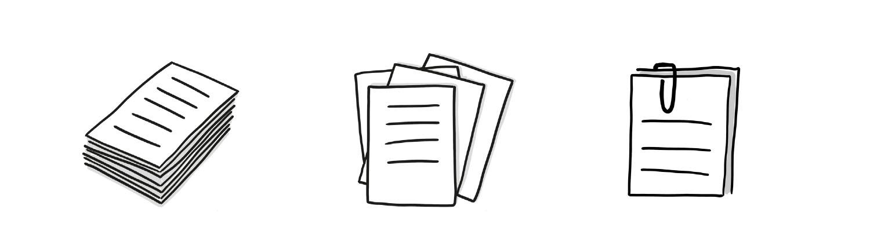 geordneter Papierstapel, lose übereinanderliegende Blätter und mit einer Büroklammer verbundene Blätter
