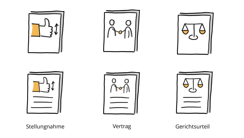 Visualisierung von Stellungnahme, Vertrag und Gerichtsurteil mithilfe von Bildern und Bildern plus Linien
