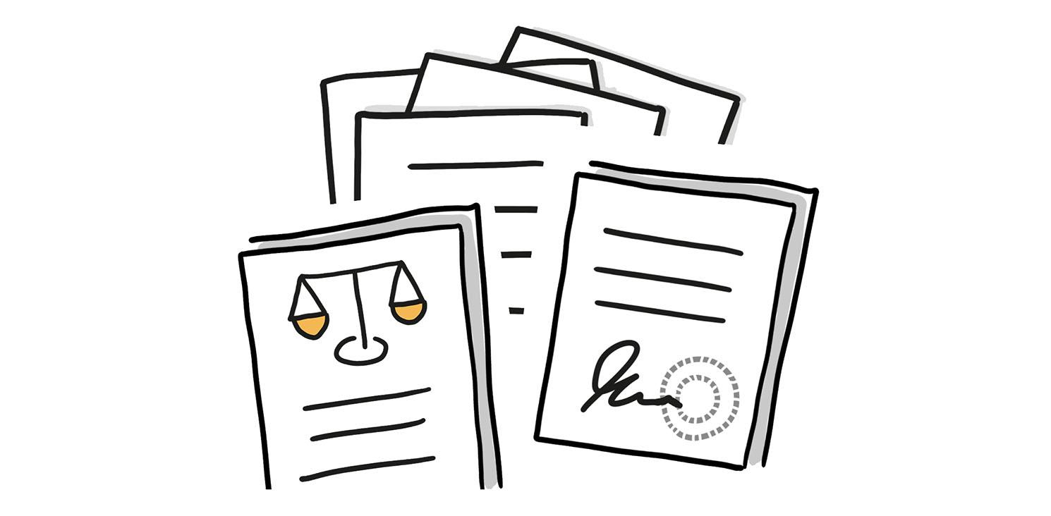 Übereinanderliegende verschiedene Dokumente