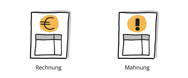 Visualisierung einer Rechnung und einer Mahnung