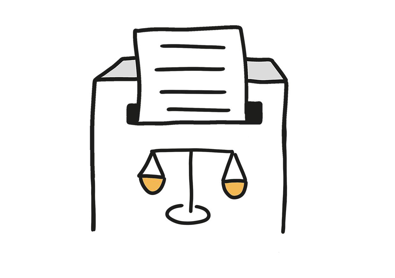 Ein Dokument verschwindet in einem Briefkasten, auf dem eine Waage abgebildet ist